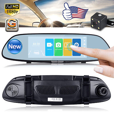 7 Car Dvr Dual Lens Hd 1080P Vehicle Dash Cam Rearview Mirror Camera Recorder