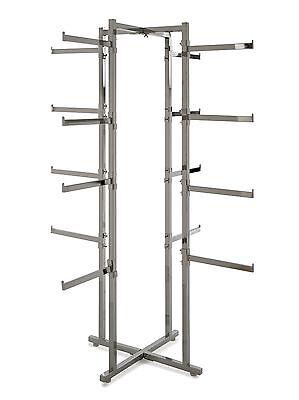 4 Way Folding Lingerie Display Rack Tower W Rectanular 12 Long Arms Chrome