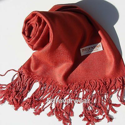 NEW Women Solid 100%Pashmina Wrap Stole Cashmere Shawl/Scarf Soft Burnt Orange