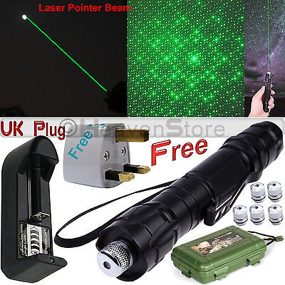 Professional Laser Pointer Kits 532nm 1mw Powerful Green Light Pen Lazer Beam UK