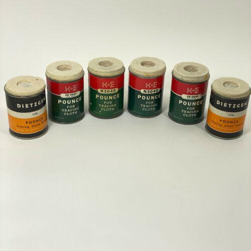 4 Vintage K+E Pounce For Tracing Cloth Keuffel & Esser N3040 + 2 Dietzgen