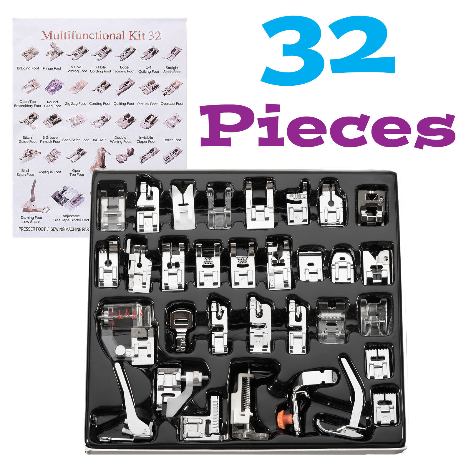 32pcs Domestic Sewing Machine Presser Foot Feet Set for Brother Singer Janome Crafts