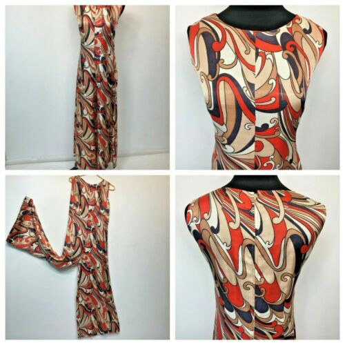 Vintage Palazzo Jumpsuit size M L Orange Brown Sleeveless Paisley ish Pattern P2