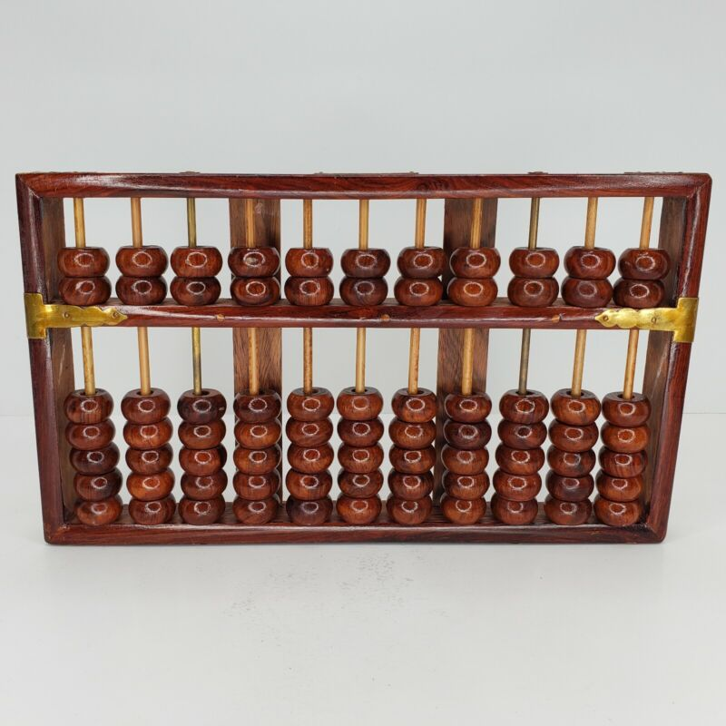 Lotus Flower Brand Chinese Abacus -11 Rows 77 Beads Huanghuali Original Antique