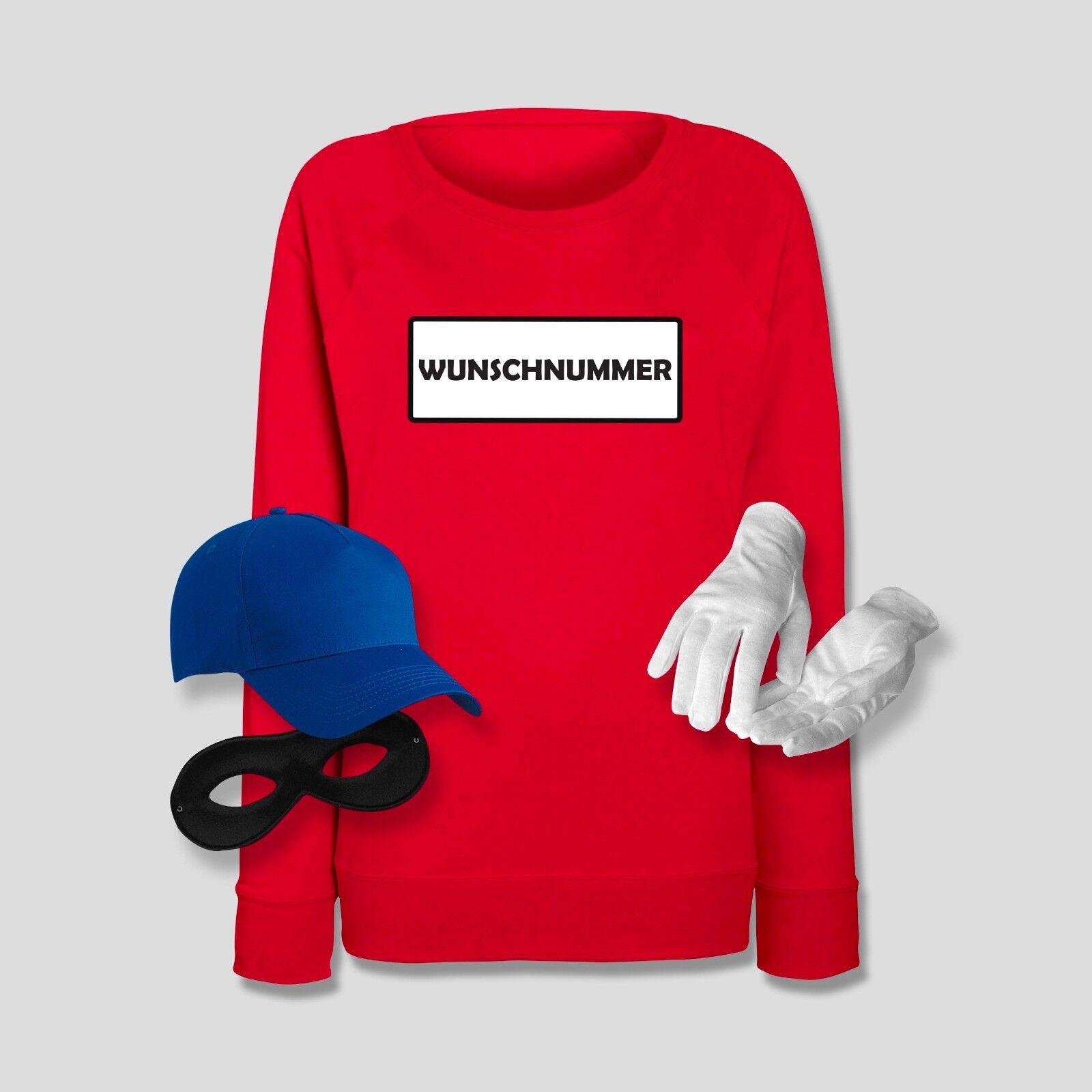 Sweatshirt Kostüm Set Panzerknacker mit Wunschnummer Karneval JGA Damen XS-2XL