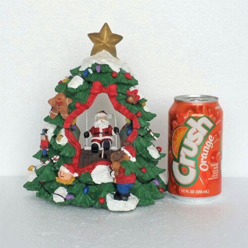 Vintage Christmas Figurine Santa Claus Musical Moving Swing Plays Deck The Halls