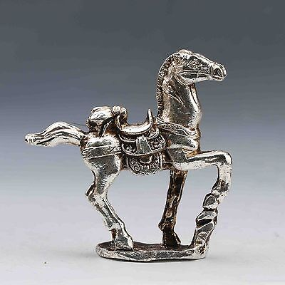 Chinese Silver Horse - CHINESE SILVER COPPER HANDWORK CARVED LIFELIKE HORSE STATUE
