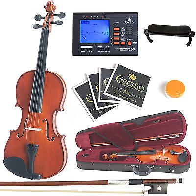 Mendini Solidwood Violin 3/4 Size +Tuner+Shdrest+2 set Strings+Case ~3/4MV200