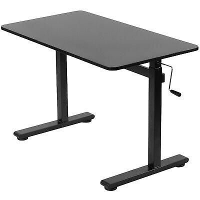 Used Vivo Black 43 X 24 Manual Crank Stand Up Height Adjustable Desk