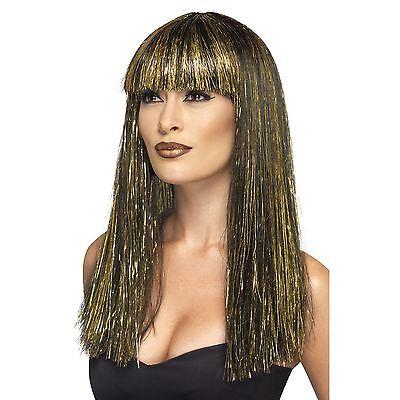 Damen Ägyptisch Göttin Perücke Schwarz mit Gold Lametta Königin Kleopatra Kostüm