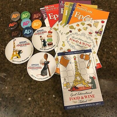 DISNEY EPCOT 2017 FOOD & WINE FESTIVAL all 3 months-11 ANNUAL PASSHOLDER PINS+