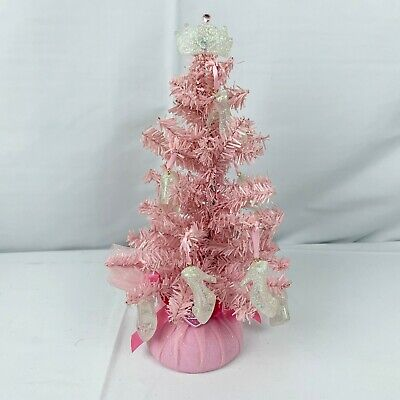 Disney Princess Pink Tree with Shoe Ornaments Glitter Crown Topper Christmas HTF