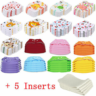 Diaper Covers Free Shipping (5 PCS+5 INSERTS Cloth Diapers lot Nappies Adjustable Reusable For Baby Newborn )