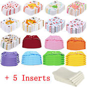 5 PCS+5 INSERTS Cloth Diapers lot Nappies Adjustable Reusable For Baby Newbor