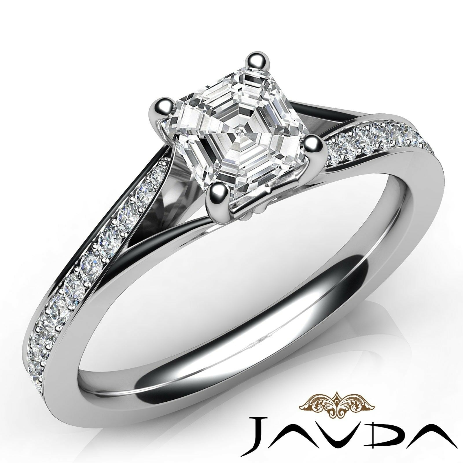 0.96ctw Knife Edge Asscher Diamond Engagement Ring GIA D-VS1 White Gold Women