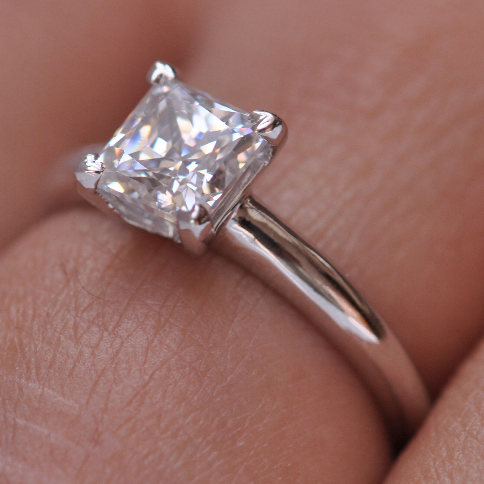 1.85 Carat Princess Shape Solitaire Women's Wedding Ring - 925 Sterling Silver 3
