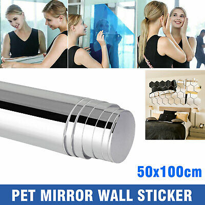 Home Decoration - 19.7x39.4 IN Self Adhesive Mirror Reflective Tiles Wall Stickers Film Paper Gift