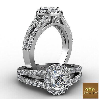 Halo Split Shank French U Pave Cushion Diamond Engagement Ring GIA H VS1 1.25Ct