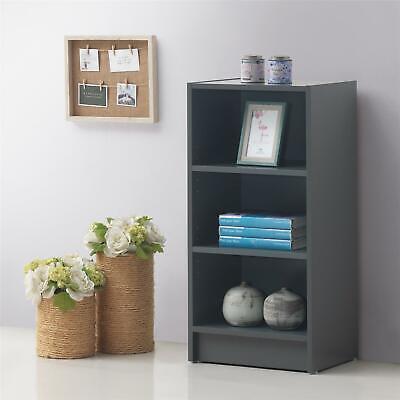 Small 3 Tier Cube Bookcase Display Shelving Storage Unit Furniture Dark Grey