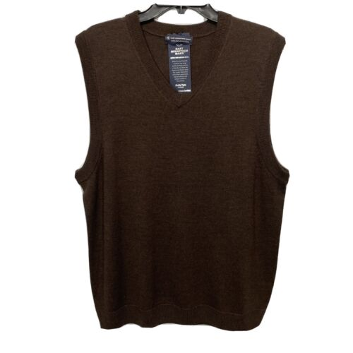 Hart Schaffner Marx V-Neck Sweater Vest 2XT 2XLT Brown Merino Wool NWT Clothing, Shoes & Accessories