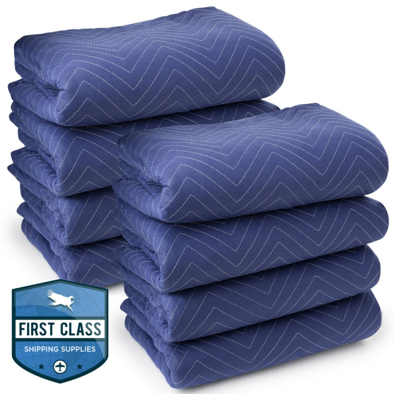 "8 Moving Blankets Furniture Pads - Deluxe Pro - 80"" x 72"" Royal Blue"