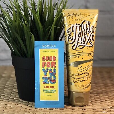 Shimmering Oil - Perfectly Posh Body Cream You're In luxe Gold Shimmering Almond Oil +Free Sample