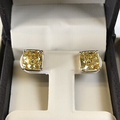 6Ct Studs Diamond Earrings Cushion Fancy Canary Yellow Man Made 14k Solid Gold