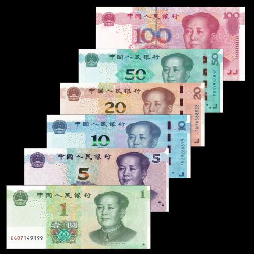 China Set 6 PCS, 1 5 10 20 50 100 Yuan, 2019-2020, P-New, Banknotes, UNC