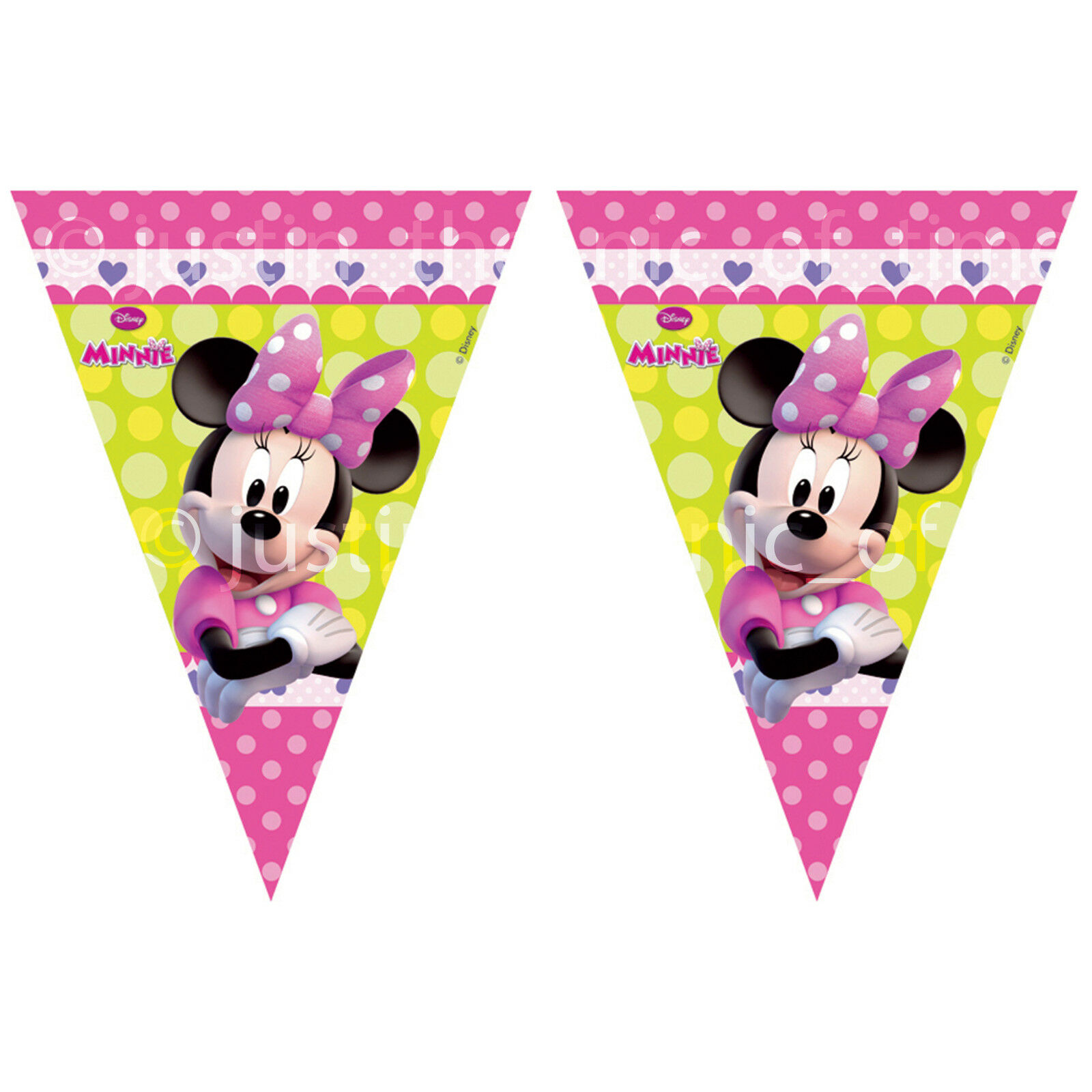 9aedbefc4 MINNIE MOUSE Girls Birthday Party Decorations Long FLAG BANNER ...
