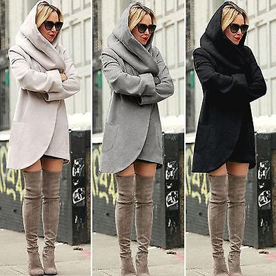 Us Womens Hooded Wool Woolen Jacket Parka Long Coat Ladies Winter Warm Overcoat