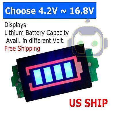 1s 2s 3s 4s Lithium Battery Capacity Indicator Voltmeter Module Blue Display Us
