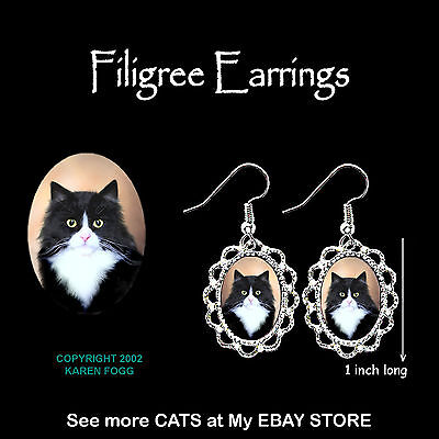 TUXEDO LONGHAIR Black and White Cat - SILVER FILIGREE EARRINGS Jewelry