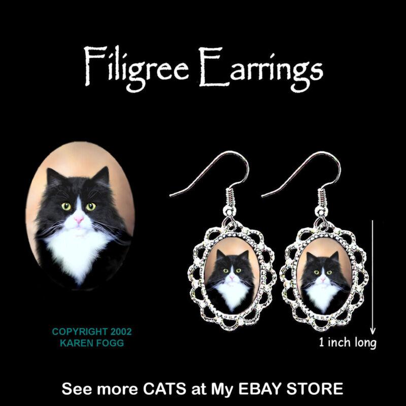 TUXEDO LONGHAIR CAT Black and White - SILVER FILIGREE EARRINGS Jewelry