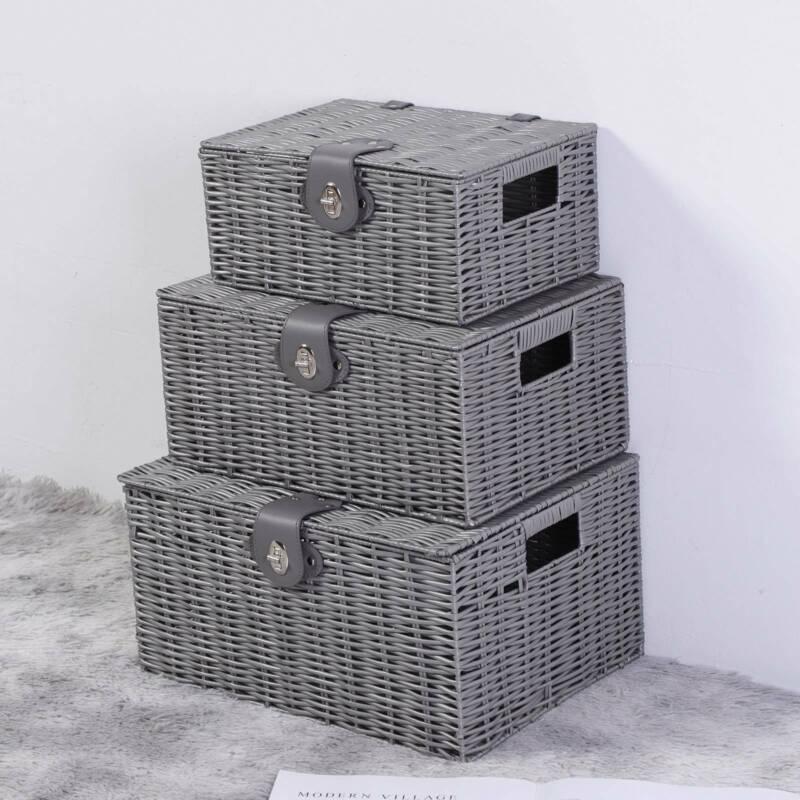 LARGE RESIN WOVEN WICKER LAUNDRY HAMPER BASKET STORAGE BOX W// LID /& LOCK GIFTS