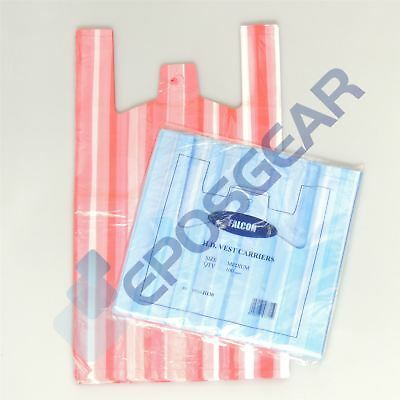 100 Blue Red Medium Cheap Candy Stripe Vest Style Shopping Plastic Carrier Bags