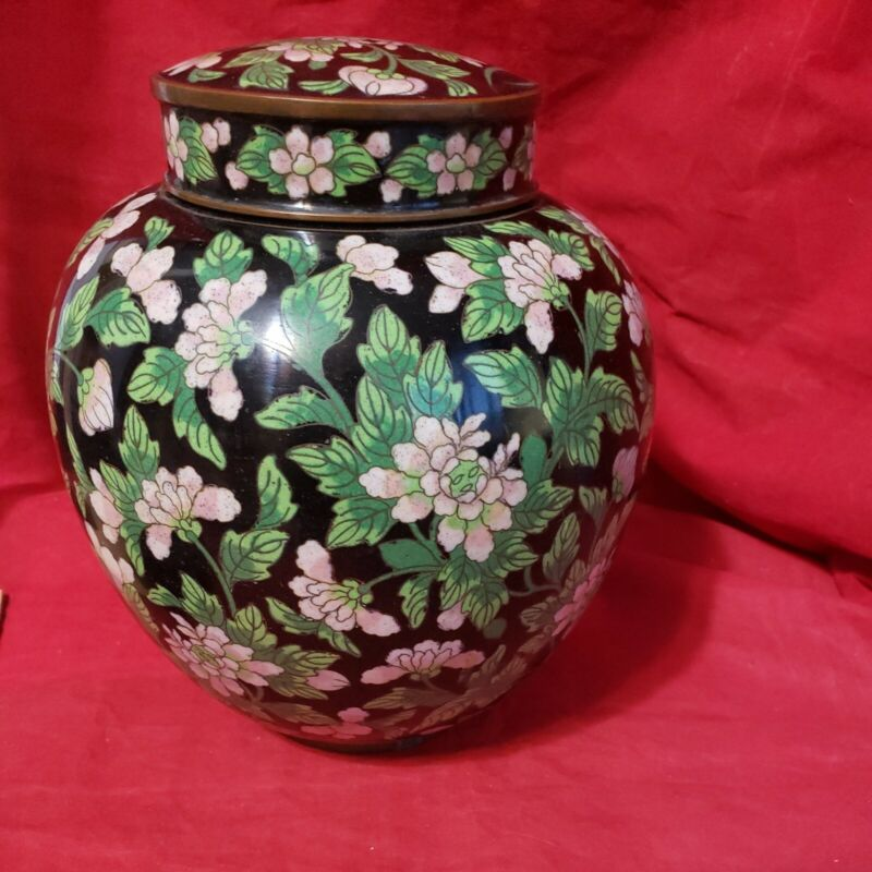 MK OFFER**VTG Asian Cloisonne, Brass, Ginger Jar Enamel Lidded cremation ash Urn