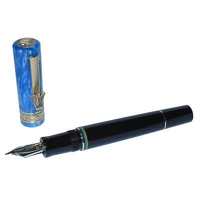 New Delta Queen Nefertiti Fountain Pen Black/Blue 18K Gold Steel Fusion B Nib