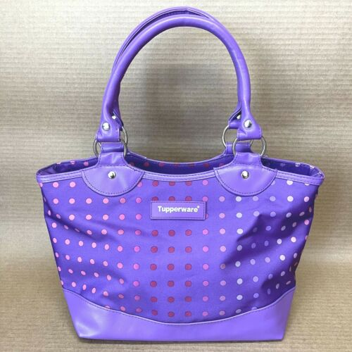 Tupperware Ladies Fashion Lunch Bag Purple with Polka Dots New