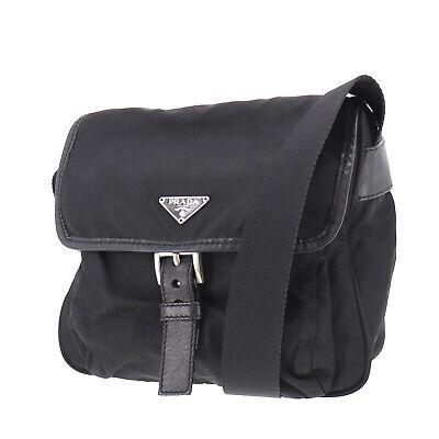 PRADA Logos Shoulder Bag Black Nylon Canvas Italy Vintage Authentic #OO740 O