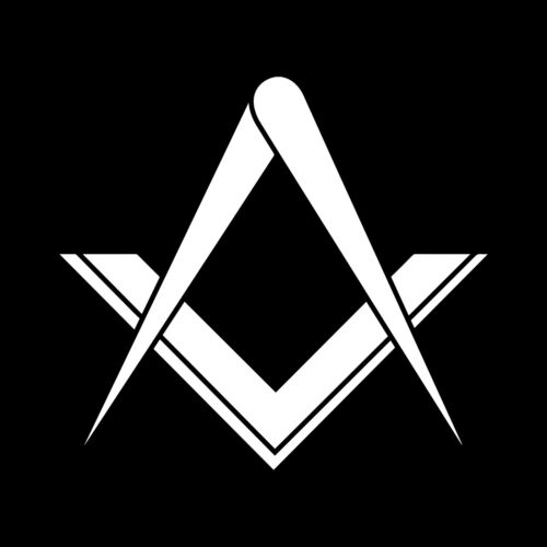 Simple Square & Compass without G Masonic Vinyl Decal - White 6 Inch