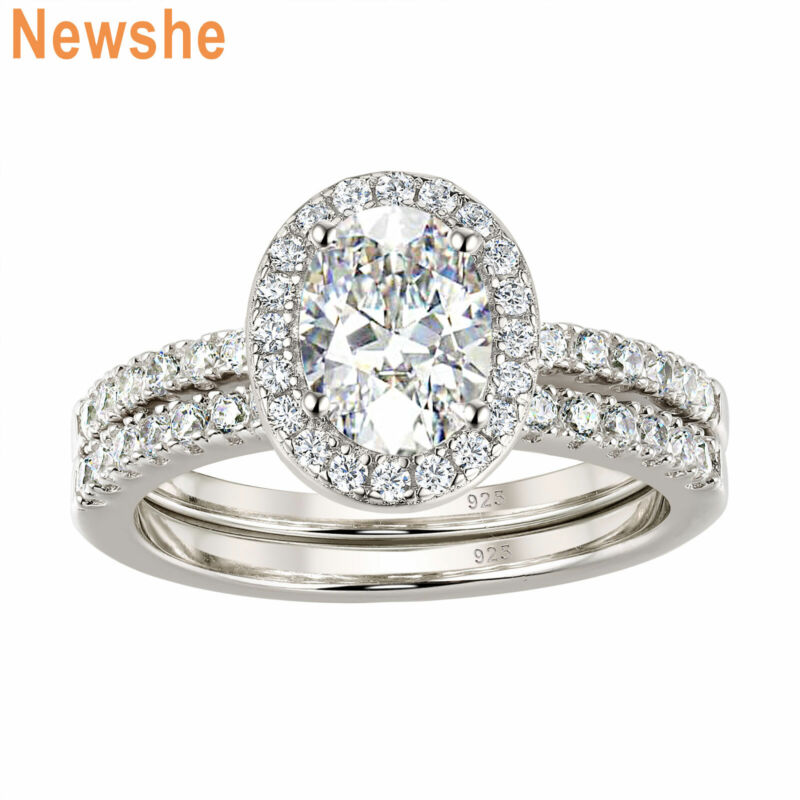 Newshe Engagement Wedding Ring Set Halo Oval White Aaaa Cz 925 Sterling Silver
