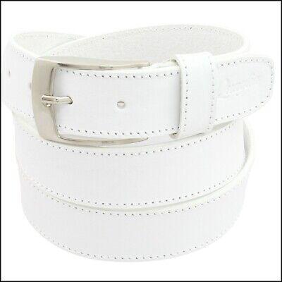 Cintura Uomo vera Pelle Bianca Cinta Donna in Cuoio Sportiva Casual di da 3,5 cm