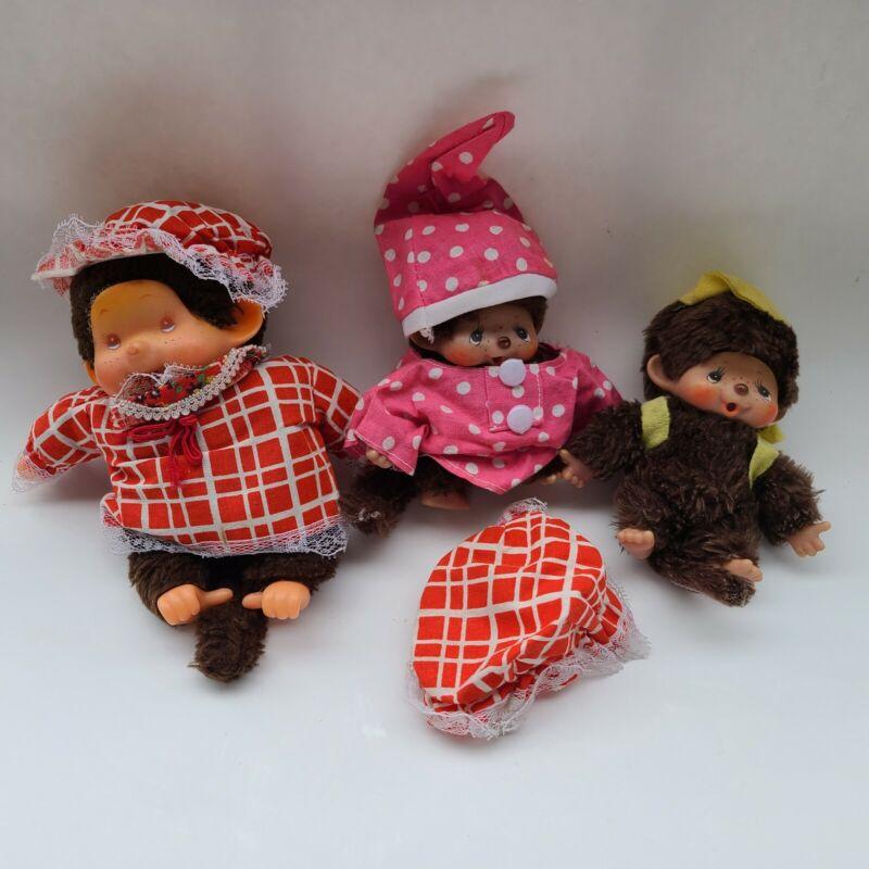 Sekiguchi Monkey Doll Lot of 3 1974 Monchichi Brown Plush Toy Japan Vintage
