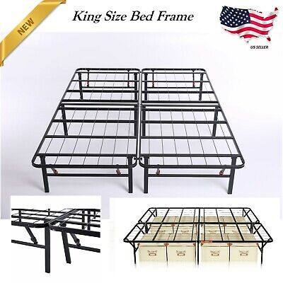 NEW Platform King Size Guest Bed Frame Mattress Fold-able Metal Steel Heavy Duty