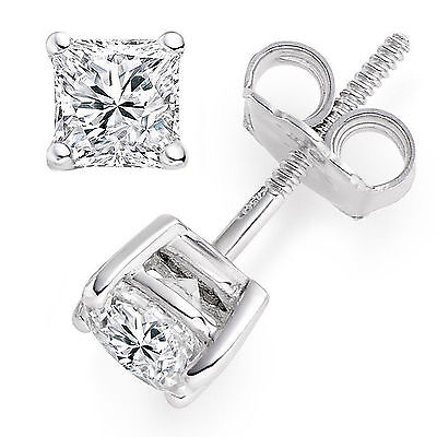 2 ct Princess Cut Solitaire Stud Earrings Solid 14k White Gold Simulated Diamond