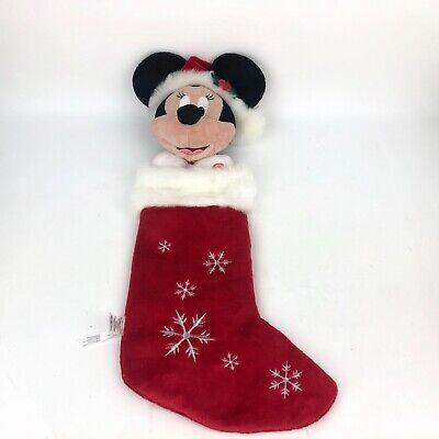 "Disney 24"" MINNIE Plush Head Christmas Holiday Stocking Red Snowflakes Musical"