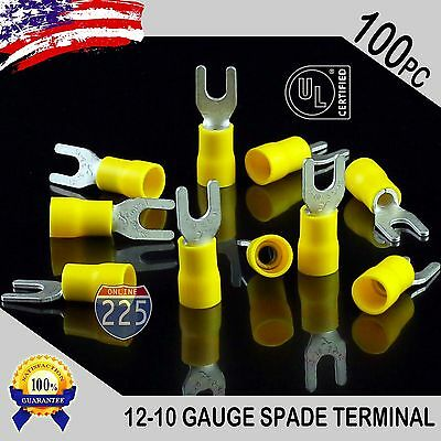 100 Pack 12-10 Gauge Vinyl Spade Fork Crimp Terminals 8 Stud Tin Copper Core Ul