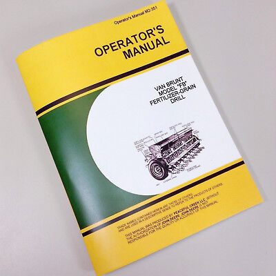 Operators Service Manual For John Deere Van Brunt Fb Fertilizer Grain Drill Book