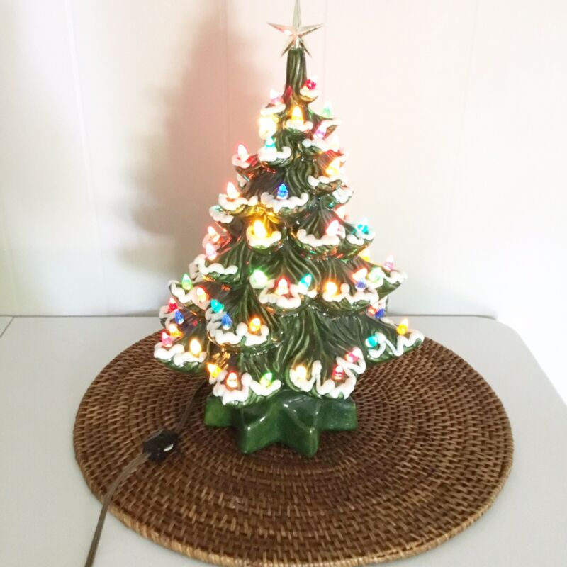Vintage Ceramic Green Christmas Tree With Everything Morben