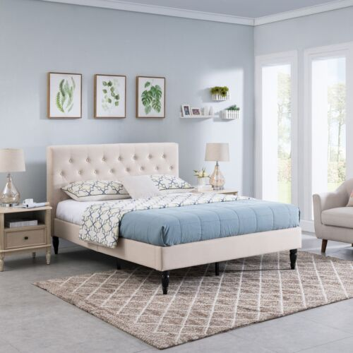 Agnes Fully-Upholstered Queen-Size Platform Bed Frame, Low-Profile, Contemporary Beds & Bed Frames